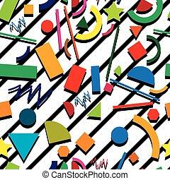 vetorial, seamless, padrão experiência, hipster, estilo, com, caótico, formas geométricas