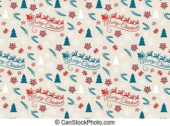vetorial, seamless, padrão, natal