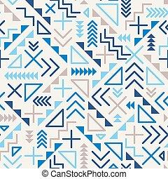 vetorial, seamless, retro, 80's, confusão, linha geométrica, formas, azul, hipster, padrão, ligado, cinzento, fundo