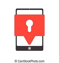 vetorial, segurança, smartphone, ícone