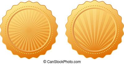 vetorial, selo ouro
