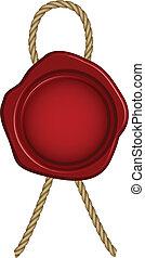 vetorial, selo, vermelho, ilustração, cera