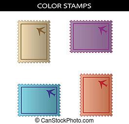 vetorial, selos, com, avião