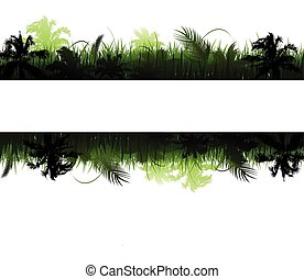 vetorial, selva, paisagem