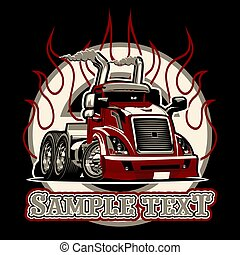 vetorial, semi caminhão, caricatura