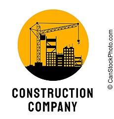 vetorial, serviço, layout., tipografia, predios, habitação, logotipo, pesado, template., arquitetônico, desenvolvimento, sob, ilustração, companhia, cartaz, firma, levantamento, silueta, guindaste, construção