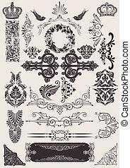 vetorial, set:, calligraphic, projete elementos, e, página, decoração