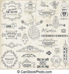 vetorial, set:, calligraphic, projete elementos, e, página, decoração, vindima, quadro, cobrança
