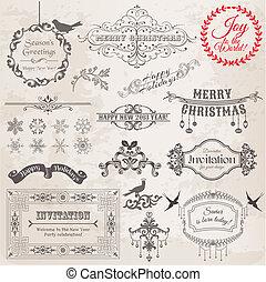 vetorial, set:, natal, calligraphic, projete elementos, e, página, decoração, vindima, bordas