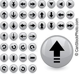 vetorial, seta, botões