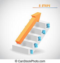 vetorial, seta, escadaria