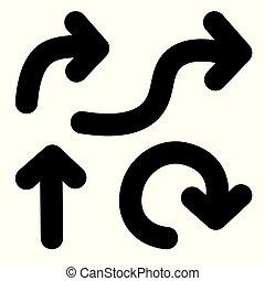 vetorial, setas, icon-, ilustração, pretas, jogo