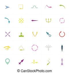 vetorial, setas, sinais, e, ícones, ilustração
