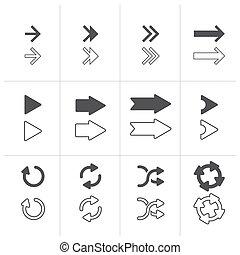 vetorial, setas, sinais, jogo, isolado, branco, experiência.