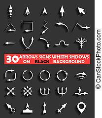 vetorial, setas, sinais, whith, sombras, ligado, pretas