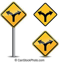 vetorial, setas, sinal amarelo