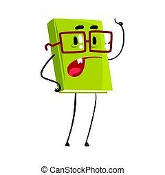 vetorial, seu, apontar, personagem, ilustração, livro, dedo, humanized, caricatura, falando