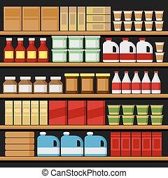 vetorial, shelfs, products., supermarket., prateleiras
