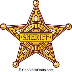 vetorial, sheriff's, estrela