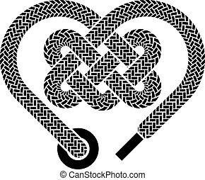 vetorial, shoelace, celta, coração
