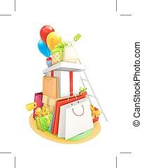 vetorial, shopping, ilustração