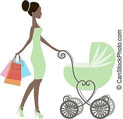 vetorial, shopping mulher, venda, africano, vindima, mommy, modernos, lojas, silueta, americano, fundo, pretas, carruagem, online, menina bebê, loja, branca, logotipo, ícone