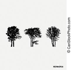 vetorial, silhouettes., jogo, árvore, illustration.
