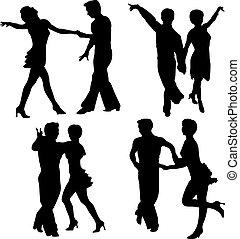 vetorial, silhuetas, dançar, homem mulher