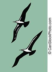 vetorial, silhuetas, de, a, pássaros mar