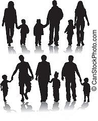 vetorial, silhuetas, de, pais, com, crianças