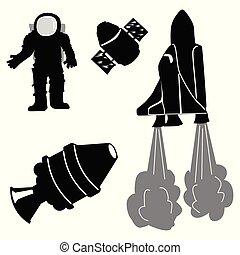 vetorial, silhuetas, jogo, objetos, espaço