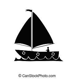 vetorial, silueta, bote