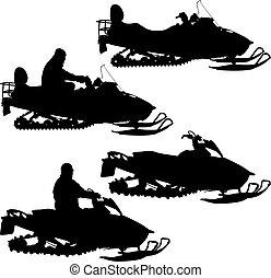 vetorial, silueta, branca, ilustração, snowmobile, experiência.