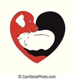 vetorial, silueta, cão, ilustração, gato