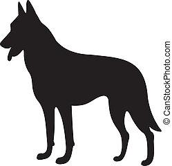 vetorial, silueta, cão
