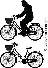 vetorial, silueta, ciclista