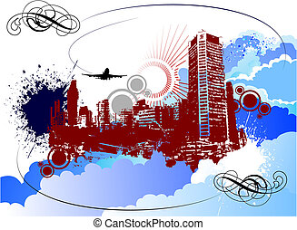 vetorial, silueta, cityscape., grande, grunge, colorido, ilustração