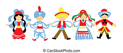 vetorial, silueta, dançar, crianças, branco, fundo