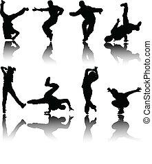vetorial, silueta, dançarinos, rua