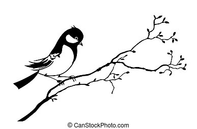 vetorial, silueta, de, a, pássaro, ligado, ramo, árvore