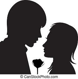 vetorial, silueta, de, homem jovem, e, mulher