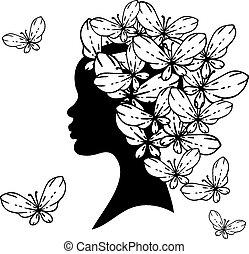 vetorial, silueta, de, mulher bonita, com, penteados