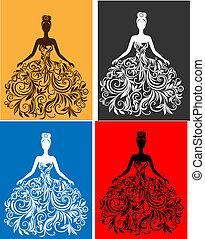 vetorial, silueta, de, mulher jovem, em, um, vestido