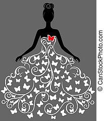 vetorial, silueta, de, mulher jovem, em, vestido