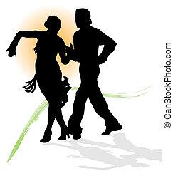 vetorial, silueta, de, par dançando, latim, com, sol...