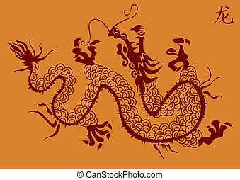 vetorial, silueta, dragão chinês