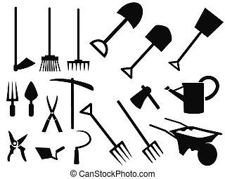 vetorial, silueta, ferramentas ajardinando, jogo