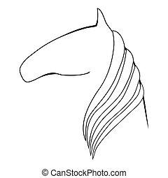 vetorial, silueta, horse.