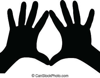 vetorial, silueta, mãos