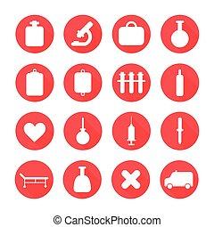 vetorial, silueta, médico, elements., jogo, saúde, shadow., longo, coloridos, pictograma, style., desenho, ícones, apartamento, ilustração